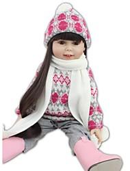 Недорогие -NPKCOLLECTION Модная кукла Девушка из провинции 18 дюймовый Полный силикон для тела Винил - как живой Искусственная имплантация Коричневые глаза Детские Девочки Игрушки Подарок