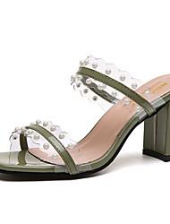 economico -Per donna Scarpe PU (Poliuretano) Estate Con cinghia Sandali Footing Quadrato Occhio di pernice Perle di imitazione Nero / Verde