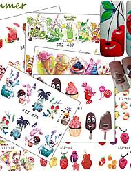 baratos -18 pcs Adesivos arte de unha Manicure e pedicure Colorido Decalques de unha Casamento / Festa / Dia a Dia