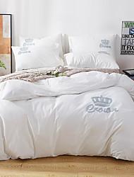 baratos -conjuntos de capa de edredão sólido colorido 100% algodão bordado 4 peças de cama conjuntos / 400 / 4pcs (1 capa de edredão, 1 folha plana, 2 fronhas) rainha