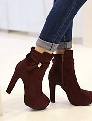 povoljno -Žene Cipele Brušena koža Zima Udobne cipele Čizme Stiletto potpetica Crn / Plava / Lila-roza