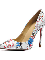 preiswerte -Damen Schuhe Leder Herbst Winter Pumps High Heels Stöckelabsatz Spitze Zehe Weiß / Hochzeit / Party & Festivität / Slogan