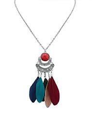 cheap -Women's Long Pendant Necklace - Resin Feather Stylish, Vintage, Ethnic Red, Blue, Light Green 70 cm Necklace Jewelry 1pc For Going out, Birthday