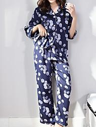 povoljno -Žene Četvrtasti izrez Odijelo Pidžama Cvjetni print