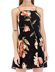 baratos -Mulheres Básico / Moda de Rua Evasê Vestido - Estampado, Floral Acima do Joelho
