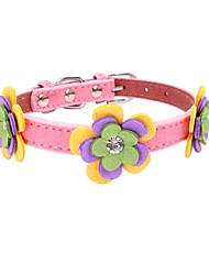 cheap -Dogs / Cats / Furry Small Pets Collar / Dog Training Collars / Necklace Portable / Mini / Trainer Geometric / Flower / Floral Poly urethane Brown / Red / Pink