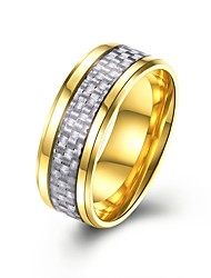 cheap -Men's Cubic Zirconia Band Ring - Stainless Fashion 7 / 8 / 9 / 10 Gold / Black / Light Blue For Gift Daily