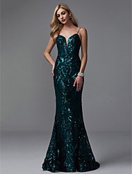 cheap -Mermaid / Trumpet Spaghetti Strap Sweep / Brush Train Sequined Formal Evening / Black Tie Gala Dress with Sequin by TS Couture®