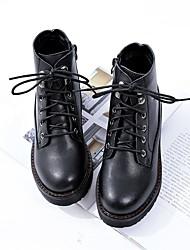 Недорогие -Жен. Обувь Полиуретан Наступила зима Модная обувь Ботинки Для прогулок На плоской подошве Круглый носок Ботинки Черный
