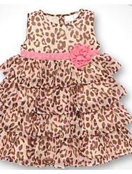 preiswerte -Kinder Mädchen Leopard Ärmellos Kleid