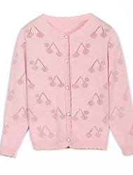 cheap -Kids Girls' Cherry Solid Colored Long Sleeve Sweater & Cardigan