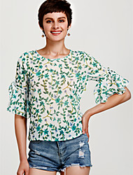 abordables -Blusa suelta de poliester manga de boho de mujer - floral, básica