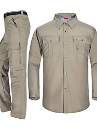 cheap -Men's Hiking Pants / Hiking Shirt Outdoor Fast Dry, Breathability Clothing Suit SBS Zipper Camping / Hiking / Caving