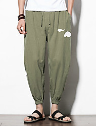 cheap -men's linen loose harem pants - solid colored