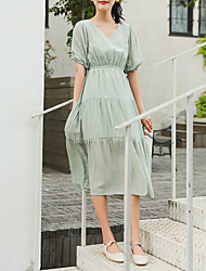 baratos -Mulheres balanço Vestido Decote V Médio
