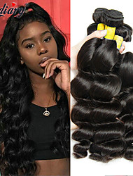 cheap -Mongolian Hair Wavy One Pack Solution 3 Bundles 8-28 inch Human Hair Weaves Machine Made Gift / New Arrival / Hot Sale Natural Black Human Hair Extensions Women's