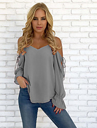 cheap -Women's Active / Basic Blouse - Solid Colored Backless / Lace up