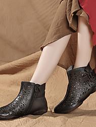povoljno -Žene Cipele Koža Proljeće Udobne cipele Čizme Ravna potpetica Sive boje / Kava