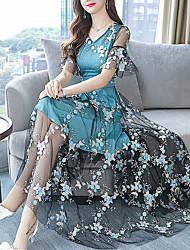 Недорогие -Жен. С летящей юбкой Платье V-образный вырез Средней длины
