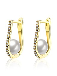 cheap -Women's Freshwater Pearl Chandelier Hoop Earrings - Gold Plated Fashion Gold / White For Party / Daily