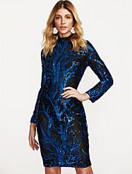 cheap -Women's Boho Skinny Bodycon Dress - Color Block Blue Stand