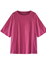 cheap -Women's Cotton Loose T-shirt - Solid Colored