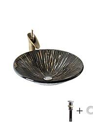 abordables -Lavabo de Salle de Bain / Robinet de Salle de Bain / Bague de Fixation de Salle de Bain Antique - Verre Trempé Rond
