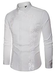 baratos -Homens Camisa Social Básico Renda / Vazado / Patchwork, Estampa Colorida