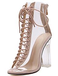 baratos -Mulheres Sapatos Sintéticos Primavera Verão Shoe transparente Sandálias Salto Robusto Peep Toe Preto / Amêndoa / Festas & Noite