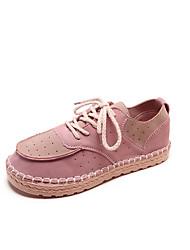 Недорогие -Жен. Обувь Замша / Полиуретан Осень Удобная обувь Туфли на шнуровке На плоской подошве Бежевый / Розовый