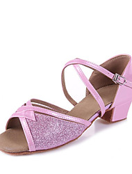 cheap -Girls' Latin Shoes Faux Leather Sandal Sequin Thick Heel Customizable Dance Shoes Silver / Blue / Pink