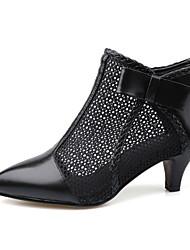 Недорогие -Жен. Обувь Наппа Leather Весна / Осень Удобная обувь / Модная обувь Ботинки На каблуке-рюмочке Ботинки Черный / Красный