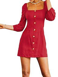 cheap -Women's Going out Slim Sheath Dress - Solid Colored Mini U Neck / Fall
