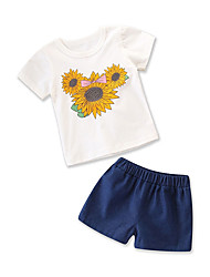 cheap -Baby Girls' Floral / Print Short Sleeve Clothing Set