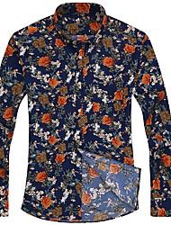 baratos -Homens Camisa Social Básico / Boho Geométrica / camuflagem Borboleta