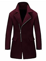 Недорогие -Муж. Пальто Рубашечный воротник Однотонный, Шерсть / Длинный рукав
