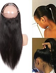 cheap -Guanyuwigs Brazilian Hair 360 Frontal Straight Swiss Lace Remy Human Hair Women's Silky / Women / New Arrival Party / Dailywear / Daily Wear / Natural Hairline