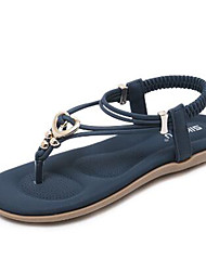 baratos -Mulheres Sapatos Couro Ecológico Primavera Verão Tira em T / Conforto Sandálias Sem Salto Ponta Redonda Roxo / Azul / Amêndoa
