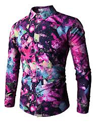 Недорогие -Муж. С принтом Рубашка Классический Контрастных цветов / Радужный