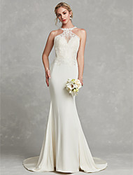 cheap -Mermaid / Trumpet Jewel Neck Court Train Chiffon / Lace Made-To-Measure Wedding Dresses with Beading / Appliques by LAN TING BRIDE® / Beautiful Back