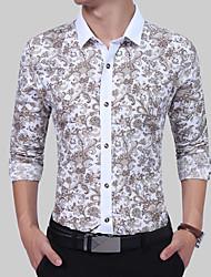 cheap -Men's Basic / Street chic Shirt - Color Block Print