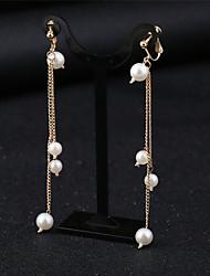 baratos -Mulheres Diamante sintético Brincos com Clipe - Tropical, Elegante Branco Para Festa Festa / Noite