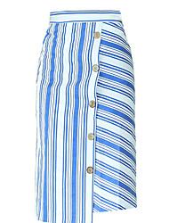 cheap -women's going out asymmetrical trumpet / mermaid skirts - striped