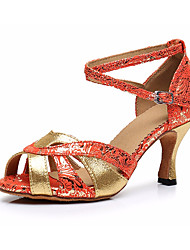 cheap -Women's Latin Shoes Satin Heel Thick Heel Dance Shoes Gold