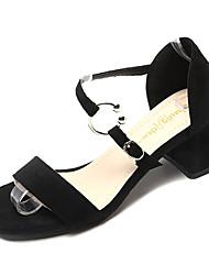 povoljno -Žene Cipele PU Ljeto D'Orsay cipele Sandale Kockasta potpetica Okrugli Toe Crn / Žutomrk