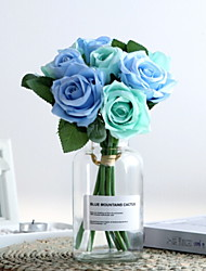 baratos -Flores artificiais 1 Ramo Clássico / Solteiro (L150 cm x C200 cm) Estiloso Rosas Flor de Mesa