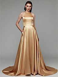 economico -Linea-A All'americana Strascico di corte Raso Serata formale Vestito con Spacco sul davanti / A pieghe di TS Couture®