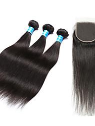 Недорогие -3 комплекта с закрытием Перуанские волосы Прямой 10A Не подвергавшиеся окрашиванию Волосы Уток с закрытием 8-28 дюймовый Нейтральный Ткет человеческих волос Лучшее качество 100% девственница
