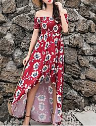 Недорогие -Жен. Богемный / Изысканный С летящей юбкой Платье - Цветочный принт, С принтом Ассиметричное Цветок солнца