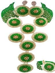 Недорогие -Жен. Многослойный Комплект ювелирных изделий - Австрийские кристаллы MOON Дамы, Мода Включают Струнные ожерелья Зеленый / Ярко-розовый / Светло-коричневый Назначение Для вечеринок Праздники / Серьги
